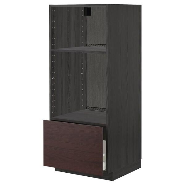 METOD / MAXIMERA High cab for oven/micro w drawer, black Askersund/dark brown ash effect, 60x60x140 cm