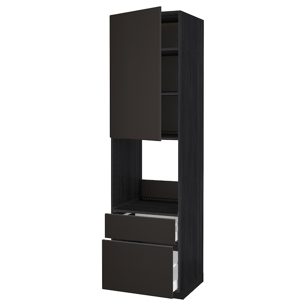 METOD / MAXIMERA High cabinet f oven+door/2 drawers, black/Kungsbacka anthracite, 60x60x220 cm