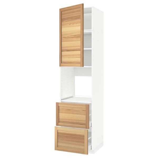 METOD / MAXIMERA High cabinet f oven+door/2 drawers, white/Torhamn ash, 60x60x240 cm