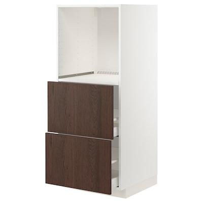 METOD / MAXIMERA خزانة للفرن بدرجين, أبيض/Sinarp بني, 60x60x140 سم