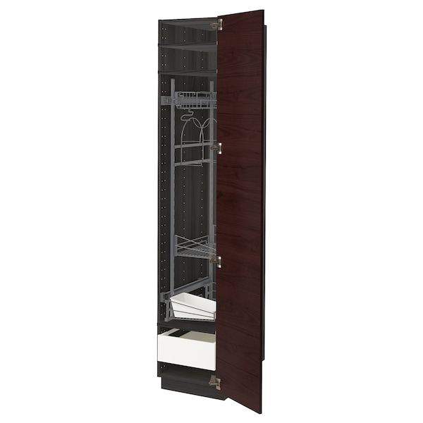 METOD / MAXIMERA High cabinet with cleaning interior, black Askersund/dark brown ash effect, 40x60x200 cm