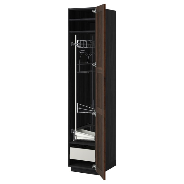 METOD / MAXIMERA High cabinet with cleaning interior, black/Edserum brown, 40x60x200 cm