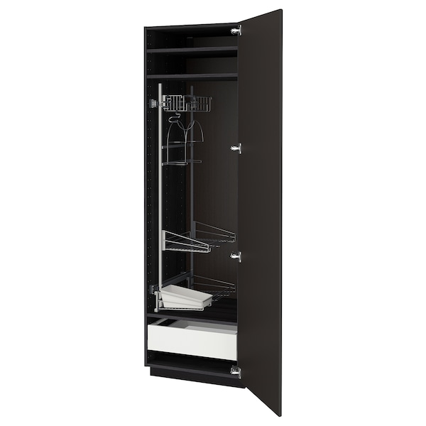 METOD / MAXIMERA High cabinet with cleaning interior, black/Kungsbacka anthracite, 60x60x200 cm