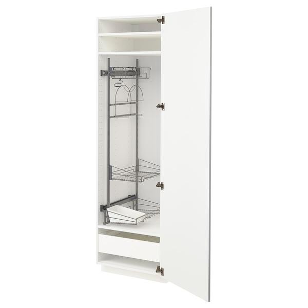 METOD / MAXIMERA خزانة مرتفعة مع أرفف مواد نظافة, أبيض/Ringhult أبيض, 60x60x200 سم