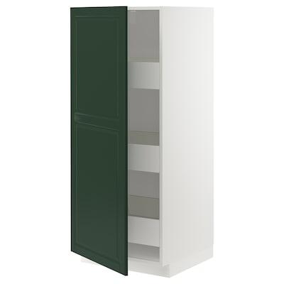 METOD / MAXIMERA خزانة عالية بأدراج, أبيض/Bodbyn أخضر غامق, 60x60x140 سم