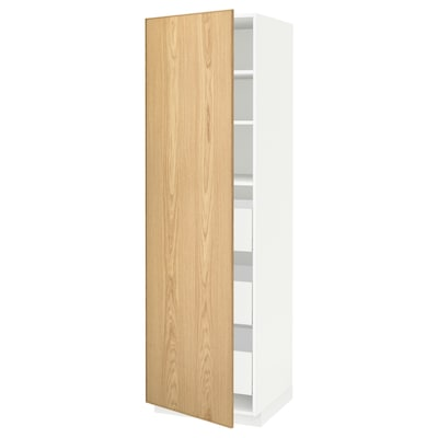 METOD / MAXIMERA High cabinet with drawers, white/Ekestad oak, 60x60x200 cm