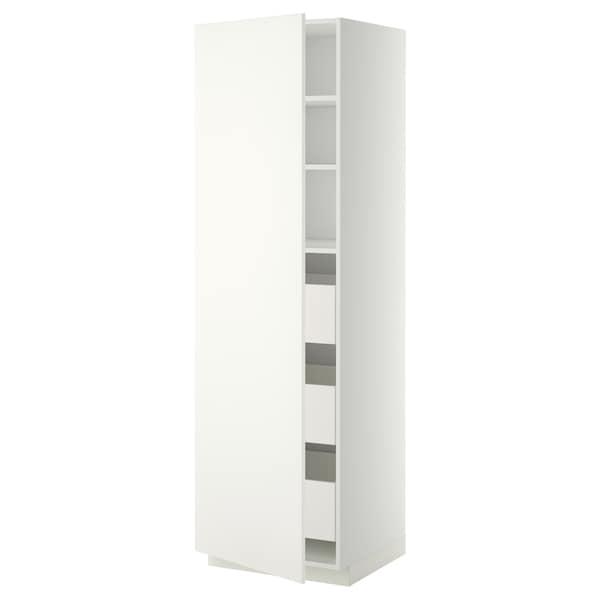METOD / MAXIMERA خزانة عالية بأدراج, أبيض/Häggeby أبيض, 60x60x200 سم