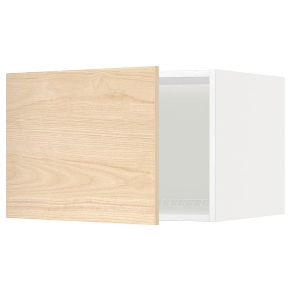 METOD خزانة علوية لثلاجة/فريزر, أبيض/Askersund مظهر دردار خفيف, 60x40 سم