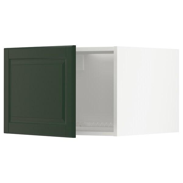 METOD خزانة علوية لثلاجة/فريزر, أبيض/Bodbyn أخضر غامق, 60x40 سم