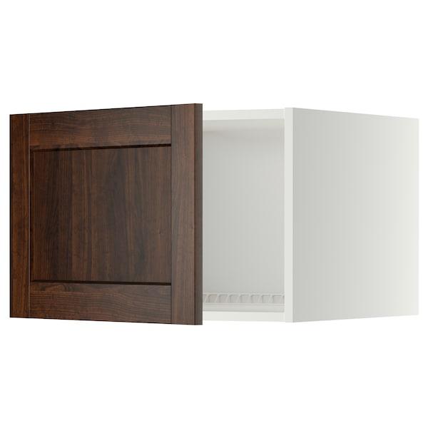 METOD Top cabinet for fridge/freezer, white/Edserum brown, 60x40 cm