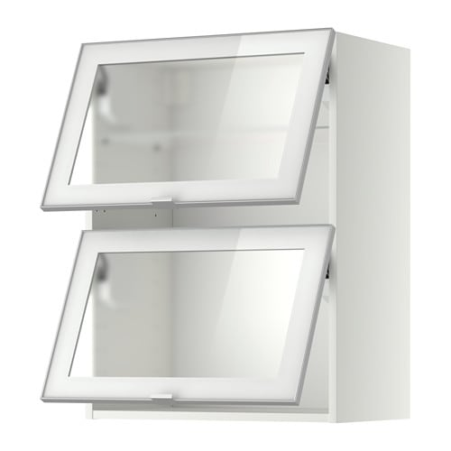 METOD Wall cab horizontal w 2 glass doors - white Jutis frosted glass/aluminium 80x80 cm - IKEA