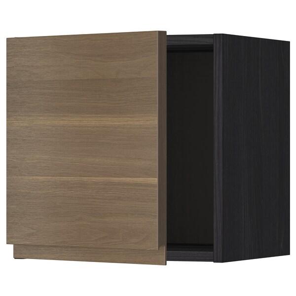 METOD Wall cabinet, black/Voxtorp walnut effect, 40x40 cm