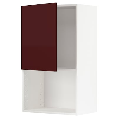 METOD Wall cabinet for microwave oven, white Kallarp/high-gloss dark red-brown, 60x100 cm