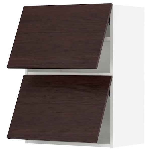 METOD Wall cabinet horizontal w 2 doors, white Askersund/dark brown ash effect, 60x80 cm