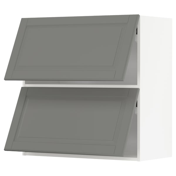 METOD Wall cabinet horizontal w 2 doors, white/Bodbyn grey, 80x80 cm