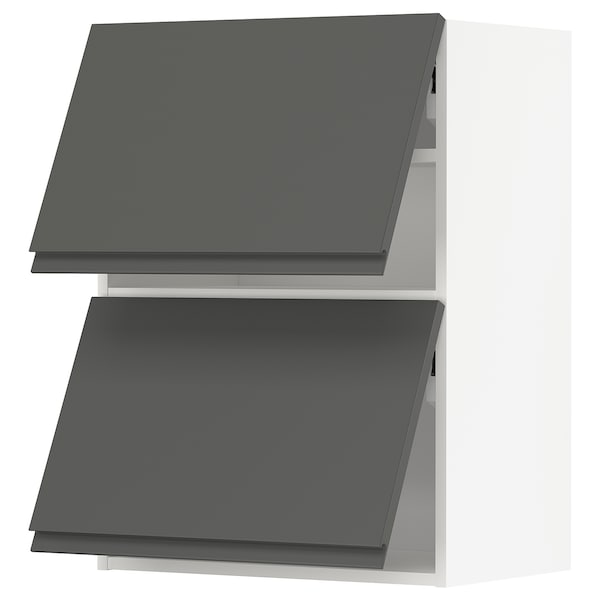 METOD Wall cabinet horizontal w 2 doors, white/Voxtorp dark grey, 60x80 cm