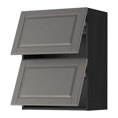 METOD Wall cabinet horizontal w 2 doors - white Ekestad oak 80x80 cm - IKEA
