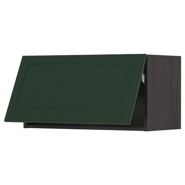 METOD خزانة حائط أفقية مع آلية فتح بالقفل, أسود/Bodbyn أخضر غامق, 80x40 سم