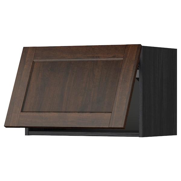 METOD خزانة حائط أفقية مع آلية فتح بالقفل, أسود/Edserum بني, 60x40 سم