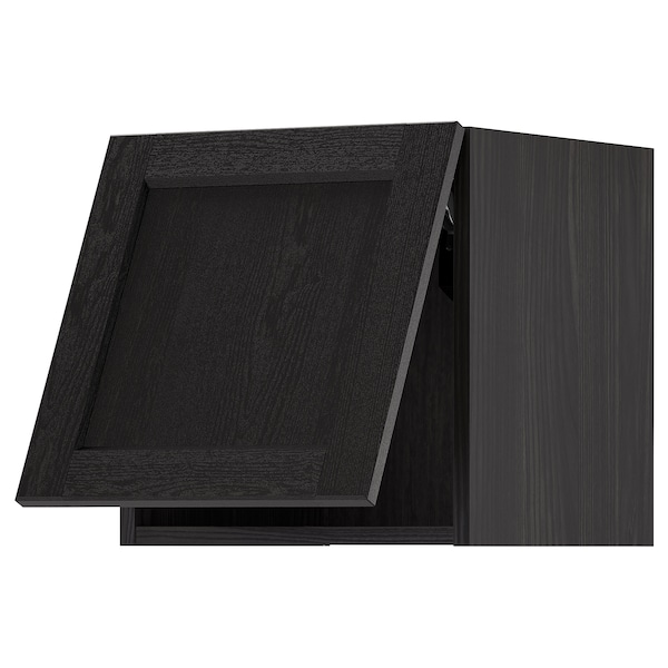 METOD خزانة حائط أفقية مع آلية فتح بالقفل, أسود/Lerhyttan صباغ أسود, 40x40 سم