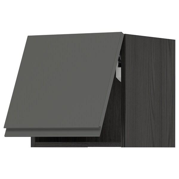 METOD خزانة حائط أفقية مع آلية فتح بالقفل, أسود/Voxtorp رمادي غامق, 40x40 سم