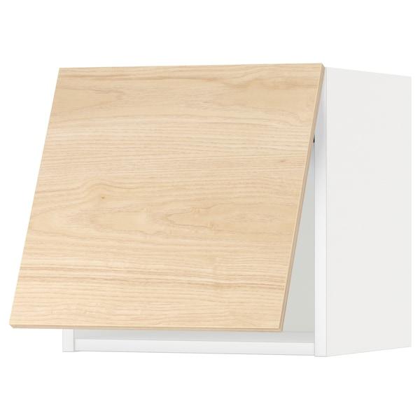 METOD خزانة حائط أفقية مع آلية فتح بالقفل, أبيض/Askersund مظهر دردار خفيف, 40x40 سم
