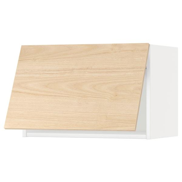 METOD خزانة حائط أفقية مع آلية فتح بالقفل, أبيض/Askersund مظهر دردار خفيف, 60x40 سم