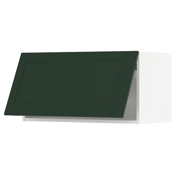 METOD خزانة حائط أفقية مع آلية فتح بالقفل, أبيض/Bodbyn أخضر غامق, 80x40 سم