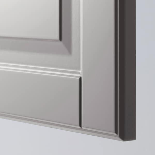 METOD خزانة حائط أفقية مع آلية فتح بالقفل, أبيض/Bodbyn رمادي, 60x40 سم