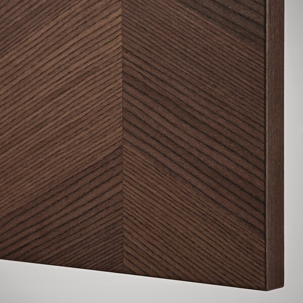 METOD خزانة حائط أفقية مع آلية فتح بالقفل, أبيض Hasslarp/بني منقوش, 40x40 سم