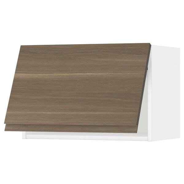 METOD خزانة حائط أفقية مع آلية فتح بالقفل, أبيض/Voxtorp شكل خشب الجوز, 60x40 سم