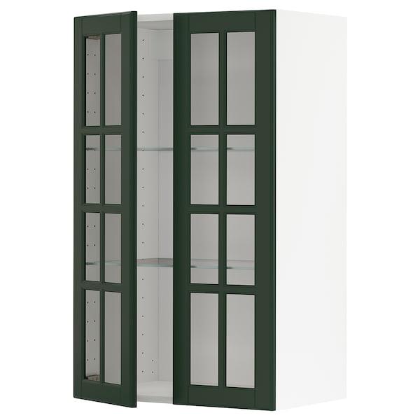 METOD Wall cabinet w shelves/2 glass drs, white/Bodbyn dark green, 60x100 cm
