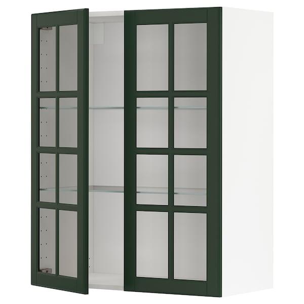METOD Wall cabinet w shelves/2 glass drs, white/Bodbyn dark green, 80x100 cm