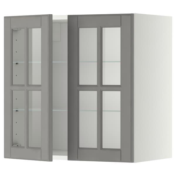 METOD Wall cabinet w shelves/2 glass drs, white/Bodbyn grey, 60x60 cm