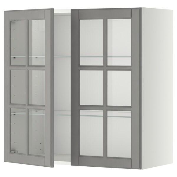 METOD Wall cabinet w shelves/2 glass drs, white/Bodbyn grey, 80x80 cm