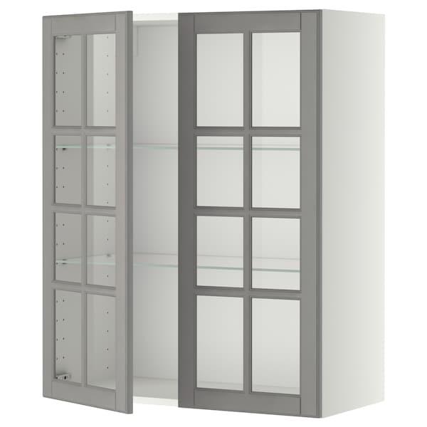 METOD Wall cabinet w shelves/2 glass drs, white/Bodbyn grey, 80x100 cm