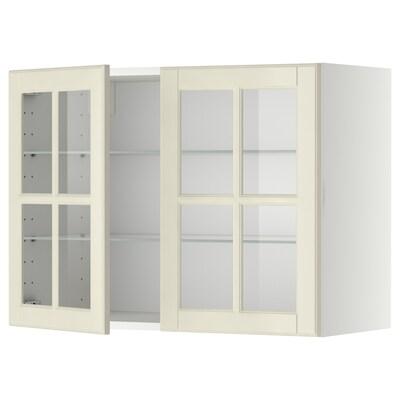 METOD Wall cabinet w shelves/2 glass drs, white/Bodbyn off-white, 80x60 cm