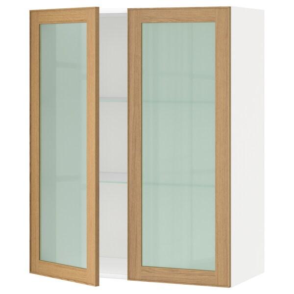 METOD Wall cabinet w shelves/2 glass drs, white/Ekestad oak, 80x100 cm