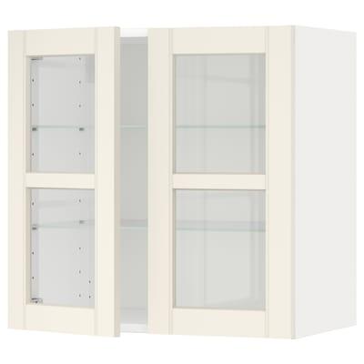 METOD Wall cabinet w shelves/2 glass drs, white/Hittarp off-white, 60x60 cm