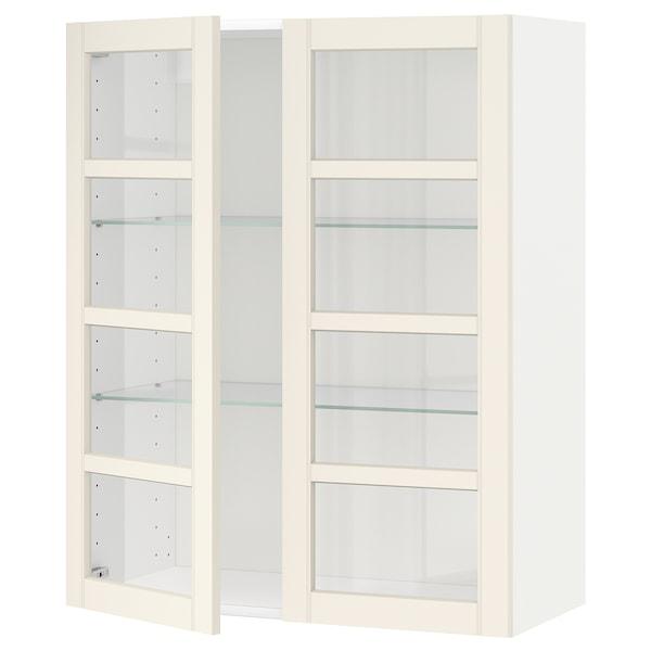 METOD Wall cabinet w shelves/2 glass drs, white/Hittarp off-white, 80x100 cm