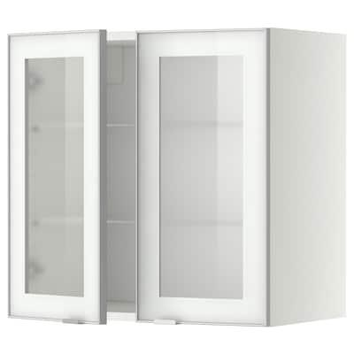METOD خزانة حائط مع أرفف/بابين زجاجية, أبيض/Jutis زجاج محبب, 60x60 سم