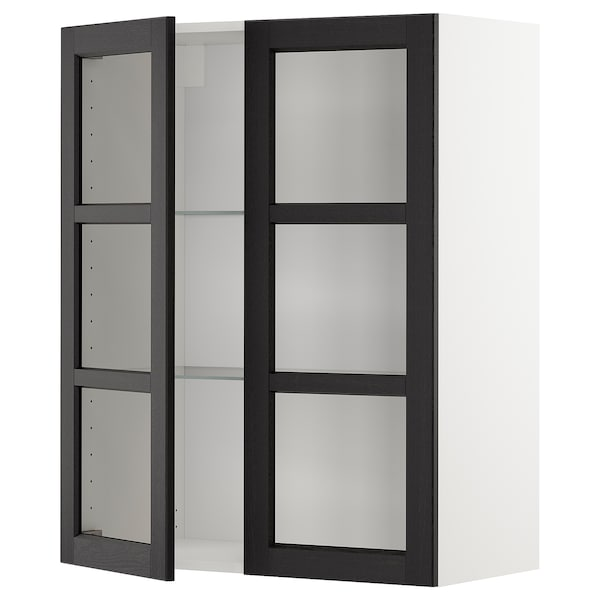 METOD Wall cabinet w shelves/2 glass drs, white/Lerhyttan black stained, 80x100 cm