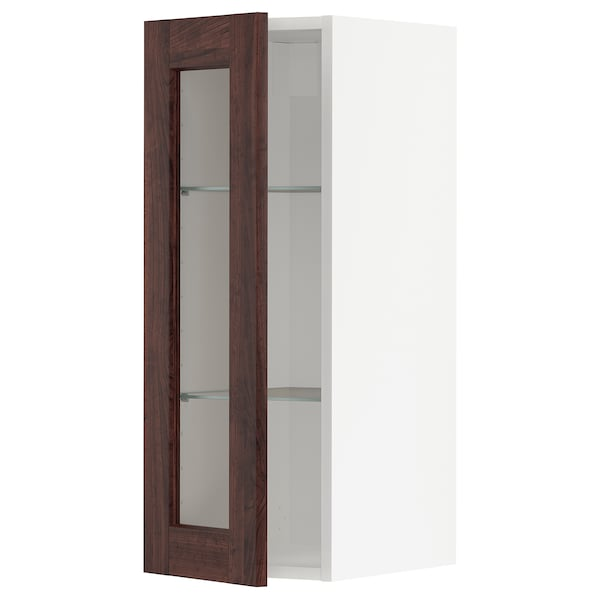 METOD خزانة حائط مع أرفف/باب زجاجي, أسود/Edserum بني, 30x80 سم