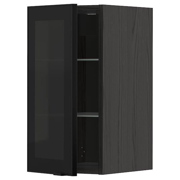 METOD خزانة حائط مع أرفف/باب زجاجي, أسود/Jutis زجاج مدخّن, 30x60 سم