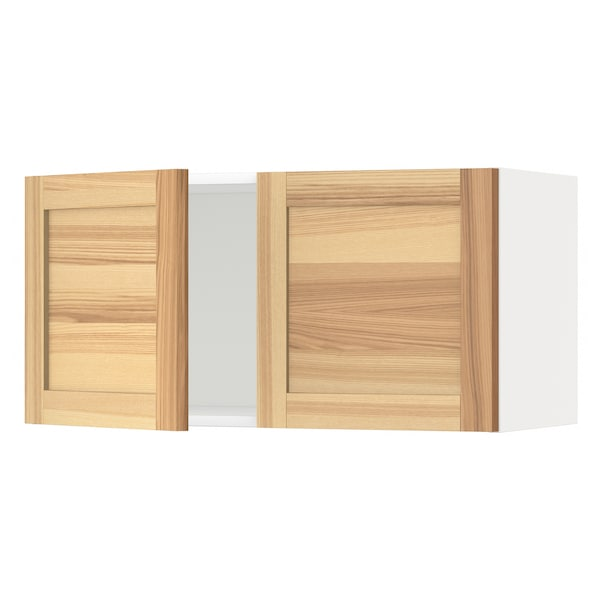 METOD Wall cabinet with 2 doors, white/Torhamn ash, 80x40 cm