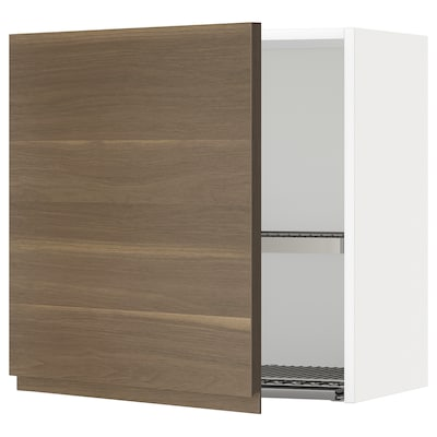 METOD Wall cabinet with dish drainer, white/Voxtorp walnut effect, 60x60 cm