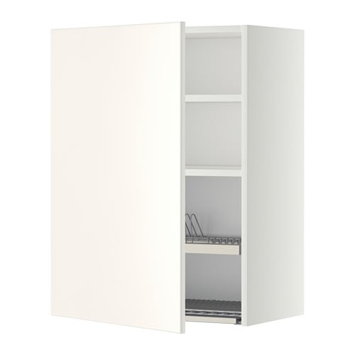 METOD Wall cabinet with dish drainer - white, Veddinge white, 60x80 ...