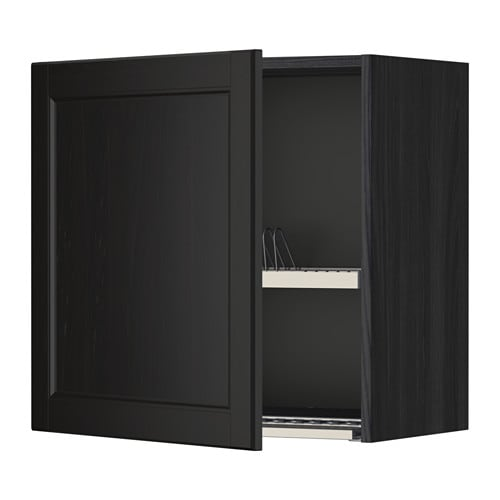 metod wall cabinet with dish drainer wood effect black