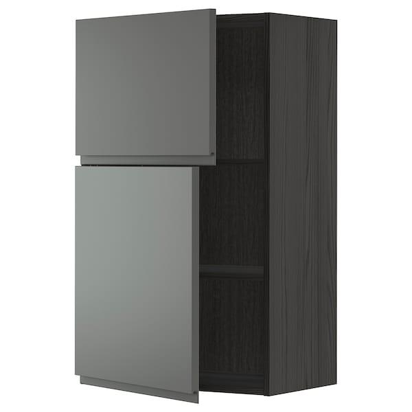 METOD خزانة حائط مع أرفف/بابين, أسود/Voxtorp رمادي غامق, 60x100 سم