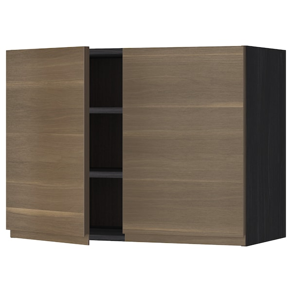 METOD Wall cabinet with shelves/2 doors, black/Voxtorp walnut effect, 80x60 cm